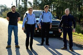 This photo released by CBS shows, from left, Mike Vogel as Dale
