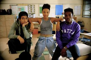 This photo provided by courtesy of the Sundance Institute shows, from left, Tony Revolori, Kiersey Clemons, and Shameik Moore, in a scene from the film,