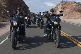 Tommy Flanagan as Filip 'Chibs' Telford, left, and Charlie Hunnam as Jackson