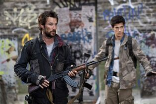 Noah Wyle, left, and Drew Roy are pictured in a scene from the sci-fi series
