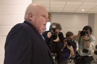 Toronto Mayor Rob Ford arrives to cast his ballot in advance voting for the Toronto Municipal Election at an Etobicoke polling station on October 14, 2014. THE CANADIAN PRESS/Chris Young