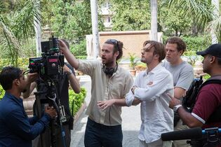 Director Mike Cahill (left) and actor Michael Pitt are pictured on the set of