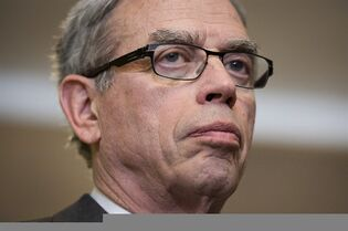 Finance Minister Joe Oliver takes questions from the media following an announcement at the Arts Market in Toronto on Monday, April 13, 2015. THE CANADIAN PRESS/Darren Calabrese