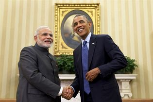 President Barack Obama shakes hands with Indian Prime Minister Narendra Modi, Tuesday, Sept. 30, 2014, in the Oval Office �of the White House in Washington. President Barack Obama and India's new Prime Minister Narendra Modi said Tuesday that