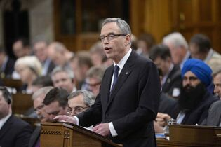 Finance Minister Joe Oliver tables the federal budget in the House of Commons in Ottawa this afternoon. Oliver delivered the first balanced federal budget since 2007, generating a small but politically significant $1.4-billion surplus in 2015-16.
