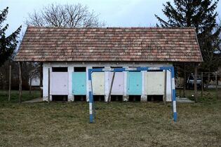Changing rooms for the soccer pitch in the village of Megyer, Veszprem county, 190 kilometers (120 miles) southwest of Budapest, Hungary, Wednesday, Feb. 25, 2015. The village of Megyer, population 18, has put itself up for rent to companies and tourists. For 210,000 forints ($750; 690 euro) a day, a prospective renter gets seven guesthouses that sleep 39 people, four streets, a bus stop, a barn, a chicken yard, six horses, two cows, three sheep and four hectares (10 acres) of farmland - along with the possibility of temporarily being named deputy mayor. (AP Photo/MTI, Lajos Nagy)