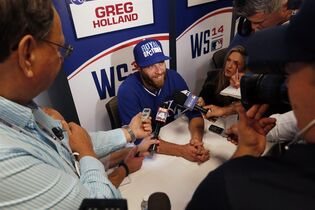Kansas City Royals relief pitcher Greg Holland speaks to the media during an availability, Monday, Oct. 20, 2014, in Kansas City, Mo. The Royals are scheduled to play Game 1 of baseball's World Series against the San Francisco Giants on Tuesday. (AP Photo/Orlin Wagner)