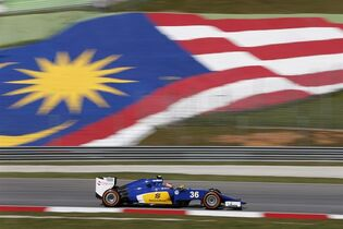 Sauber driver Raffaele Marciello of Italy steers his car during the first practice session for the Malaysian Formula One Grand Prix at Sepang International Circuit in Sepang, Malaysia Friday, March 27, 2015. (AP Photo/Vincent Thian)