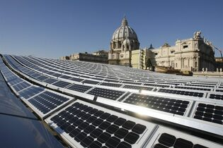 This Wednesday, Nov. 26, 2008, file photo, shows solar panels on the roof of the Paul VI Hall, at the Vatican. Pope Benedict XVI was dubbed