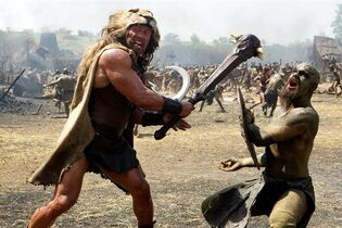 This image released by Paramount Pictures shows Dwayne Johnson as Hercules in a scene from