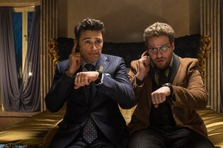 This image released by Columbia Pictures - Sony shows James Franco, left, and Seth Rogen in