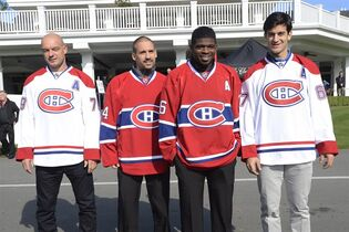 From left, Montreal Canadiens Andrei Markov, Tomas Plekanec, P.K. Subban and Max Pacioretty pose for a photo at the team's golf tournament in Laval, Que. on Monday Sept. 15, 2014. THE CANADIAN PRESS/Ryan Remiorz