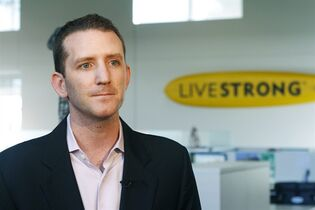 File - In this Oct. 17, 2012, file photo, Livestrong CEO and president Doug Ulman discusses the future of the organization in Austin, Texas. Ulman told The Associated Press on Monday, Sept. 22, 2014, he will leave Livestrong in January to become president and chief executive officer of Pelotonia, a Columbus, Ohio, charity bike ride that has raised more than $61 million for cancer research in its first five years. (AP Photo/Jack Plunkett, File)