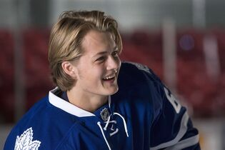 Toronto Maple Leafs' rookie William Nylander attends training camp in Toronto on Thursday September 18, 2013. Nylander's father may have had a 920-game NHL career, but that doesn't mean the Toronto Maple Leafs' first-round pick has any clue what to expect when he steps onto the ice for his first pre-season game.THE CANADIAN PRESS/Chris Young