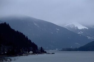 Kokanee Glacier, right, is shrouded by low clouds near Nelson, B.C., on January 17, 2011. THE CANADIAN PRESS/Darryl Dyck