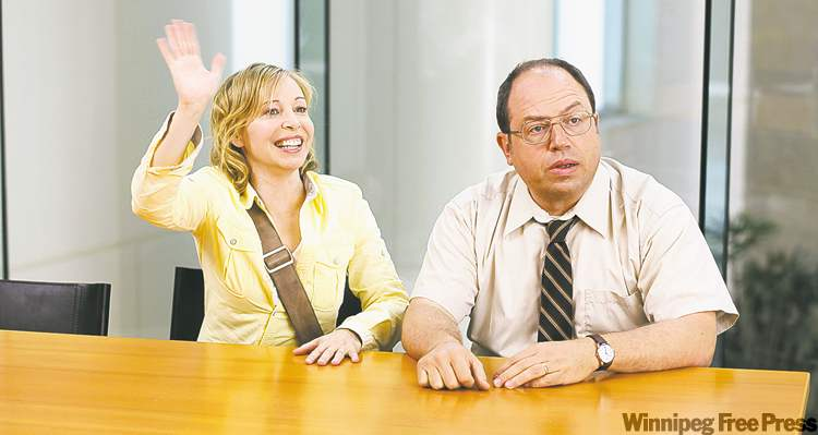 Robertson  and Butt began dating and got married while starring on  Corner Gas. Robertson says she's comfortable working with  her husband  on Hiccups.