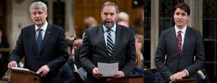Three images showing the Canadian Prime Minister Stephen Harper, NDP leader Tom Mulcair and Liberal leader Justin Trudeau. Each of the leaders' parties have claimed to speak for Canada's middle class.