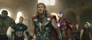 From left: Hulk (Mark Ruffalo), Captain America (Chris Evans), Thor (Chris Hemsworth), Iron Man (Robert Downey Jr.), Black Widow (Scarlett Johansson), and Hawkeye (Jeremy Renner) in Avengers: Age of Ultron.