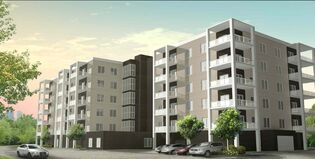 An artist's rendering of a condo development at the corner of Sturgeon Road and Saskatchewan Avenue. Plans for the Sturgeon Meadows Condominiums development call for three apartment-style, concrete-andsteel buildings.