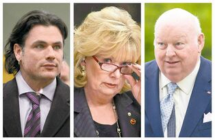 From left: Patrick Brazeau, Pamela Wallin and Mike Duffy
