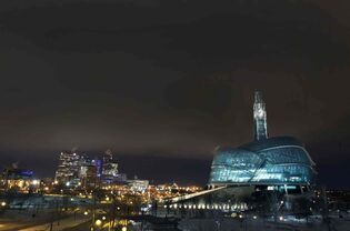Winnipeg's skyline, with the Canadian Museum for Human Rights in the foreground.