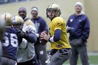 Winnipeg Blue Bomber QB #5 Drew Willy at the team's practice at Investors Group Field Tuesday.
