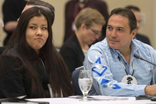 Winnipeg assault victim Rinelle Harper and Assembly of First Nations Chief Perry Bellegarde attend the roundtable in Ottawa on Friday.