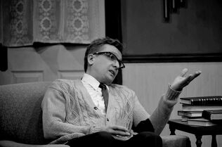 Darcy Fehr as the combative George in Black Hole Theatre's current production of Edward Albee's 'Who's Afraid of Virginia Woolf?'