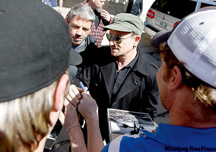 U2 frontman Bono, a labour supporter, in Winnipeg last week.