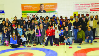 Community members joined Jim Maloway, MLA for Elmwood, at his community bonspiel event at the Elmwood Curling Club on March 29.