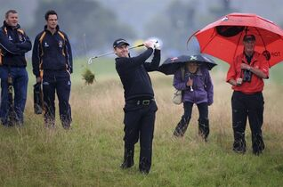 Scotland's Stephen Gallacher plays out of the rough on the 2nd fairway on day two of the Wales Open golf tournament at Celtic Manor, Newport Wales Friday Sept. 19, 2014. Gallacher will miss the cut in his last tournament before his first Ryder Cup, putting his poor performance at the Wales Open down to