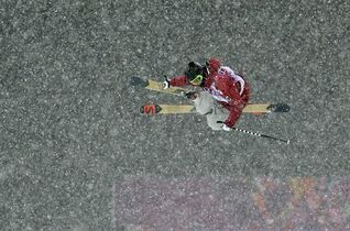 Canada's Noah Bowman gets air during the men's ski halfpipe final at the Rosa Khutor Extreme Park, at the 2014 Winter Olympics, Tuesday, Feb. 18, 2014, in Krasnaya Polyana, Russia. (AP Photo/Andy Wong)