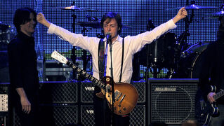 Paul McCartney performs at the MusiCares Person of the Year gala in his honor on Friday, Feb. 10, 2012 in Los Angeles. (AP Photo/Chris Pizzello)