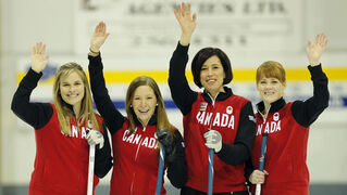 Jennifer Jones , Kaitlyn  Lawes, Jill Officer  and Dawn McEwen