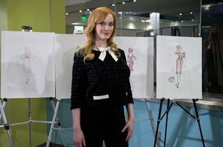 """Mad Men,"" cast member, Christina Hendricks who played Joan Harris, poses with some objects AMC and Lionsgate TV series,"