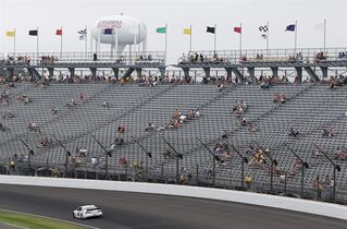 Brad Keselowski drives during the NASCAR Brickyard 400 auto race Indianapolis Motor Speedway in Indianapolis, Sunday, July 27, 2014. (AP Photo/AJ Mast)