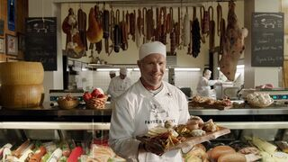"""FILE - This file image provided by Wix.com shows a portion of the company's television ad scheduled to be aired during the Super Bowl on Sunday, Feb. 1, 2015, this one featuring retired football player Brett Favre in a funny fictional businesses called """"Favre and Carve."""