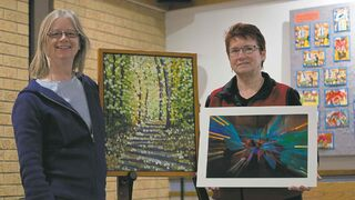 Debbie Lawson, left, and Mary Lou Milhausen are emerging artists who will have their artwork for sale at St. Peter's Anglican Church's Emerging Artists Exhibition and Sale, April 24 to 26.