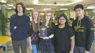 Fort Richmond Collegiate launched its arts and culture anthology The Scribbler on April 22. The editing team from left: Dimitar Tomovski, 16; Danelle Koop, 17; Maggie Eaton, 17; Vanessa Rodrigues, 16; and Nabil Basri, 16. (DANIELLE DA SILVA/CANSTAR/SOUWESTER).