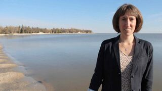Lake Winnipeg Foundation's executive director Alexis Kanu, pictured here by Lake Winnipeg, is one of three panellists set to take part in Beyond us and them: A collaborative conversation about Lake Winnipeg on April 22.