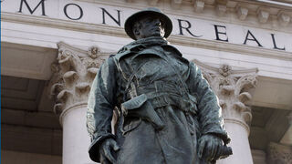 Remembering the Sacrifice - for STDUP / gallery / slide show  tribute - Some of the many Winnipeg memorials to Canada's Wars -  Remembrance Day Tribute - in  pic  - The   WW1 Memorial is  outside the Bank of Montreal at Portage and Main  - KEN GIGLIOTTI /  WINNIPEG FREE PRESS /  Nov. 24 2011 - Wpg War Memorials kgwarmemorial finds all for slide show - It was  unveiled Dec 5 1923 , the bronze statue is of a WW1 soldier, and  commemorates the 231 Bank Of Montreal  employees from across Canada that died in WW1. The scuptor was James Earle Farmer and the  bronze face was modelled after Captain Wynn Bagnall  a BMO staff member and  member of the  58th Field Artillery.The uniform is in error because the American sculptor did not have an example of a Canadian uniform to model the bronze after so an American uniform with boot style  and a slightly different cut was used . The design was a highly acclaimed  design  in its time.