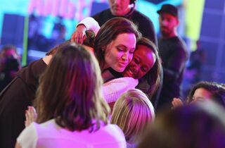 Angelina Jolie is seen in the audience at Nickelodeon's 28th annual Kids' Choice Awards at The Forum on Saturday, March 28, 2015, in Inglewood, Calif. (Photo by Matt Sayles/Invision/AP)