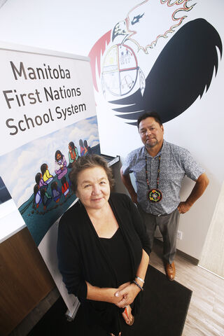 Nora Murdock, Director of Instructional Services at the Manitoba First Nations School System, and Charles Cochrane, Executive Director of Manitoba First Nations Education Resource Centre are working to get their students back to class. (John Woods / Winnipeg Free Press)