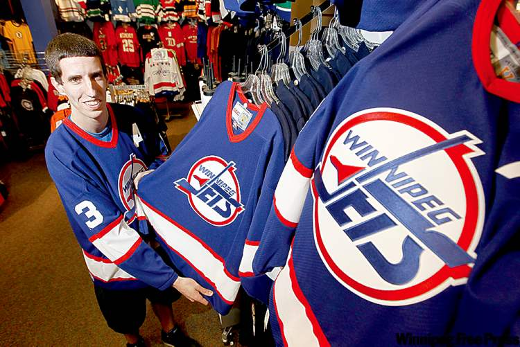 Jets merchandise with the old team logo is seen in a file photo.