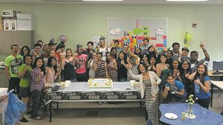 Wayfinders program students and staff celebrate graduation.