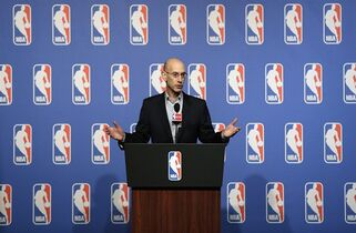 FILE - In this July 15, 2014, file photo, NBA Commissioner Adam Silver speaks at a news conference in Las Vegas. An attorney for the union representing NBA players strongly indicated Thursday, March 5, 2015, that it will want players to regain the chance to go directly from high school to the pros in the next round of collective bargaining. NBA Commissioner Adam Silver has said the league wants to raise the minimum age from 19 to 20. (AP Photo/John Locher, File)