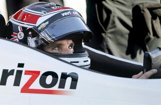 IndyCar driver Will Power sits in the pits during qualifying at the Firestone Grand Prix of St.Petersburg on Saturday , March 28, 2015, in St. Petersburg, Fla. Power broke the track record on his to win the pole position. (AP Photo/The Tampa Bay Times, Dirk Shadd) TAMPA OUT; CITRUS COUNTY OUT; PORT CHARLOTTE OUT; BROOKSVILLE HERNANDO TODAY OUT