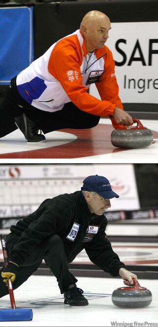 Kerry Burtnyk (top) slides out using the classic 'Manitoba tuck' delivery at the Provincial Men's Curling Championship, while Murray Woodward throws using the flatfoot delivery more common everywhere but the keystone province.