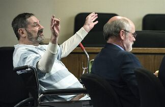 FILE- In this March 27, 2015, file photo, Frazier Glenn Miller, left, appears in court at the Johnson County Courthouse, in Olathe, Kan., where he asked for his right to a speedy trial. Frazier Glenn Miller, who is accused of killing three people at two Jewish centers, told The Associated Press in a phone call from jail on Monday, April 27, 2015, that he doesn't think he has much longer to live and wants a chance to speak in court about why he committed the crimes. (John Sleezer/The Kansas City Star via AP, File)