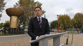 Mayoral candidate Brian Bowman promises to boost tourism speaking at the Pan Am Games memorial at The Forks.